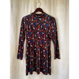 Topshop Velvety Floral High-Neck Dress